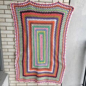 Vintage Rainbow Crochet Blanket Throw Sparkly